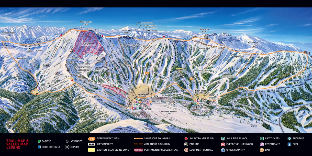 Central Valley Dodge >> California Ski Maps | Kirkwood Ski Resort Trail Map