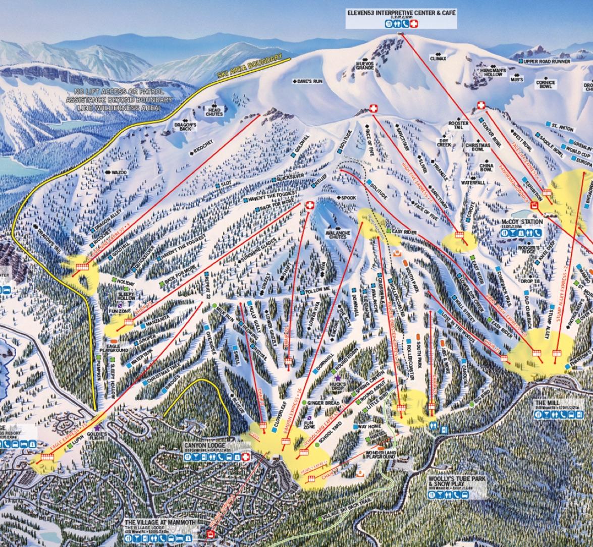 California Ski Maps Mammoth Mountain Ski Resort Trail Map
