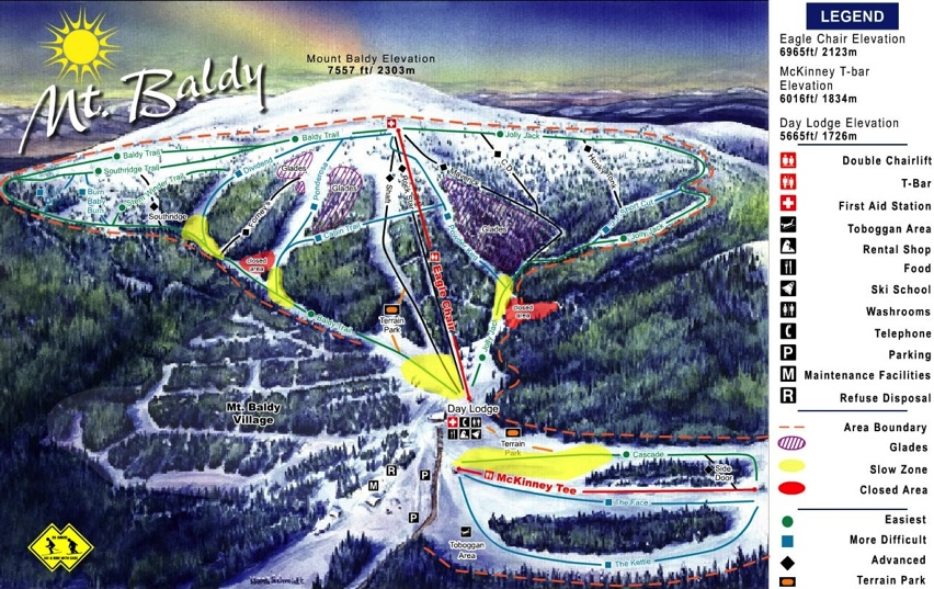 Mt Baldy Ski Area Trail Map California Ski Resort Maps